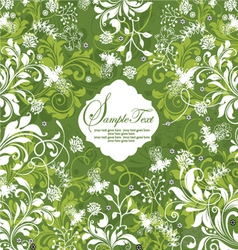 green floral invitation card vector image vector image