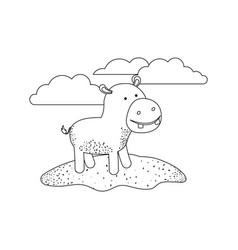 hippopotamus cartoon in outdoor scene with clouds vector image