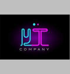 neon lights alphabet yt y t letter logo icon vector image