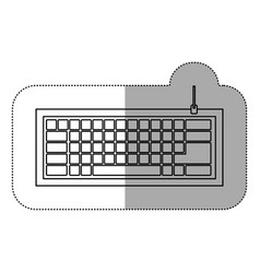 silhouette computer keyboard icon vector image vector image