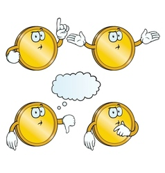 Thinking golden coin set vector image vector image