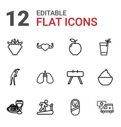 12 healthy icons vector image