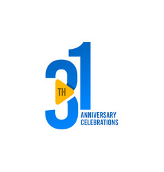 31 years anniversary celebration blue template vector