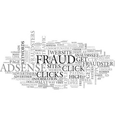 adsense fraud text word cloud concept vector image