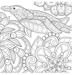 Adult coloring bookpage a penguin with ornaments vector