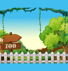 Background scene zoo park with white fence vector