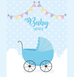 Bashower blue pram clouds pennants dotted vector