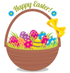 Basket of Easter eggs isolated on a white backgrou vector