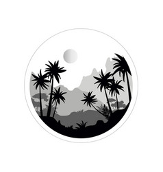 beautiful scenery with tropical trees mountains vector image