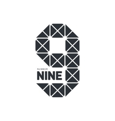 Black and white number nine geometrical logo vector image