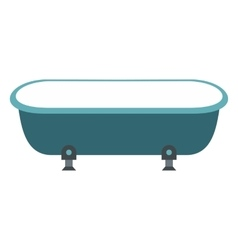 Blue bathtub flat design vector
