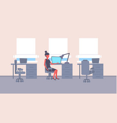businesswoman sitting desk workplace business vector image