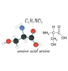 C3H7NO3 serine amino acid molecule vector image