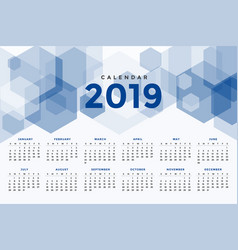 calendar 2019 abstract geometric style template vector image