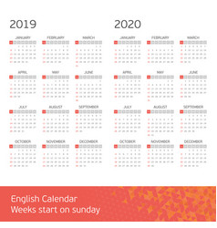 calendar on 2019 2020 vector image