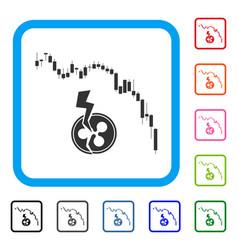 candlestick chart ripple crash framed icon vector image