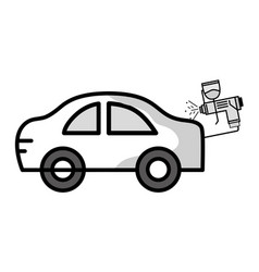 Car with pistol oil injector element service vector