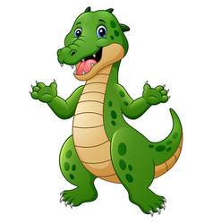 cartoon crocodile waving vector image