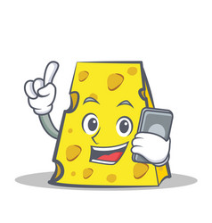 Cheese character cartoon style with phone vector