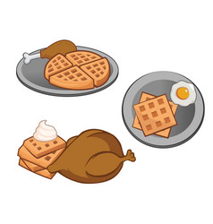 chicken and waffles vector image