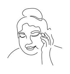 Continuous lines sketch woman looking down with vector