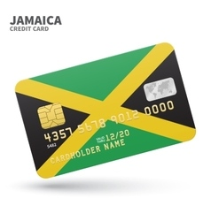 Credit card with Jamaica flag background for bank vector