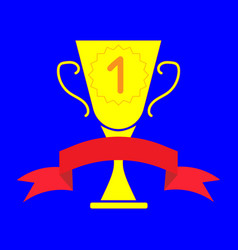 Cup winner sign with ribbon 2803 vector