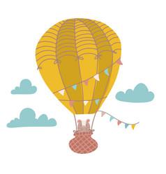 cute bear is flying in a hot air balloon cartoon vector image