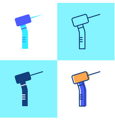 Dental drill icon set in flat and line style vector
