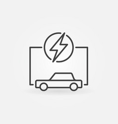 electric car with lightning simple ev concept line vector image