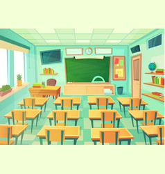 Empty cartoon classroom school room with class vector