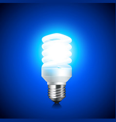 Energy saving light bulb glowing on dark vector
