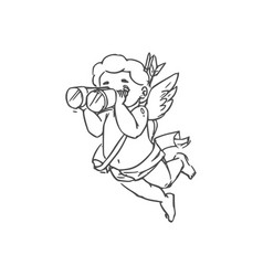 eros winged god isolated amur or cupid vector image