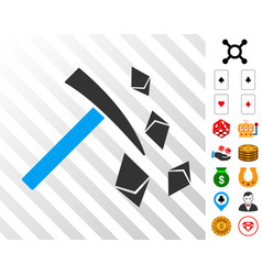 Ethereum mining hammer icon with bonus vector
