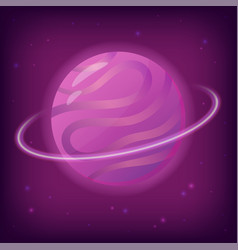 fantasy planet with rings and stars vector image