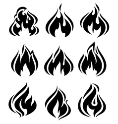 Fire flames set black icons vector image