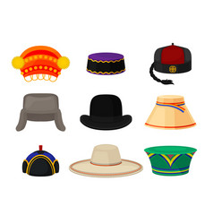 flat set of different national headwear vector image