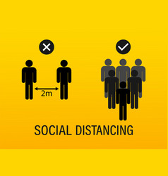 Flat with social distance keep your vector