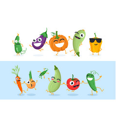 Funny vegetable characters - set of vector