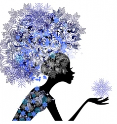 girl with snowflakes vector image