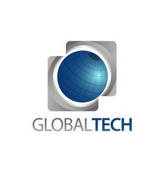 Global tech three dimensional square world globe vector