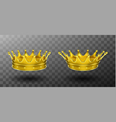 Golden crowns for king or queen monarchy symbol vector
