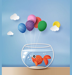 Goldfish with colorful balloon vector