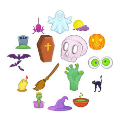 halloween icons set cartoon style vector image