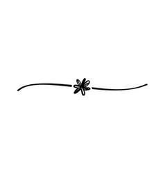 hand drawn elegant shape flower line black vector image