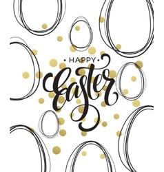 Happy Easter Easter Golden Lettering Egg vector image vector image