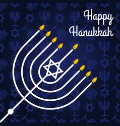 Happy hanukkah poster with menorah vector