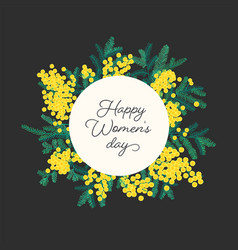happy women s day lettering surrounded blooming vector image