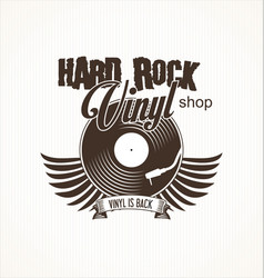 Hard rock vinyl record retro background vector