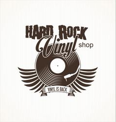 hard rock vinyl record retro background vector image